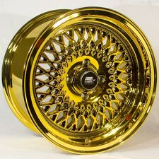 MST MT05 15x8 4x100 +20 PVD Gold Rims Fits Bmw 2002 E21 E30 Hellafail Xa Xb Mr2