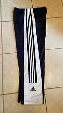 VINTAGE ADIDAS MENS LARGE BUTTON DOWN WARMUP PANTS NAVY BLUE WHITE