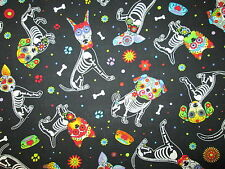DOGS SKELETONS DAY OF DEAD XRAY DOG FLORAL COTTON FABRIC FQ