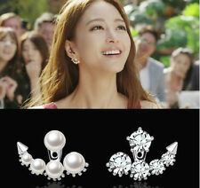 DOUBLE FAUX PEARL & CRYSTAL EAR STUD CUFF EARRINGS