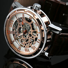 ESS Mens Gold Skeleton Leather Vintage Watch Dial Band Analog Wrist Mechanical