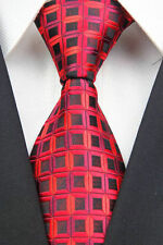 Red Hand Woven 100% Pure Silk Tie  with Black Small Square  Pattern