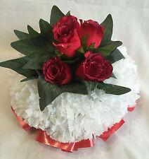 Artificial Silk Flower Deep Red Rose Valentines Day PosyTribute Memorial False