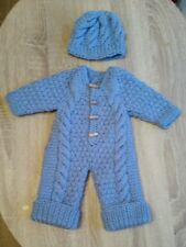Hand knitted all in one coat and hat in  blue for newborn baby