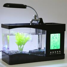 USB Desktop Mini Fish Tank Aquarium LCD Timer Clock LED Lamp Light Black UR