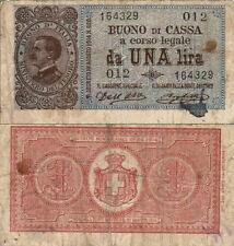 BUONO DI CASSA A CORSO LEGALE DA UNA LIRA Vittorio Emanuele III R.DECRETO 1914