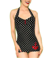 VINTAGE 50's ONE PIECE BLACK DOT WOMEN PINUP ROCKABILLY SWIMSUIT SWIM WEAR XL