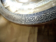 """Heavy  American Sterling Silver Embossed Rim & Glass Plate  10 1/4"""" x 1"""""""