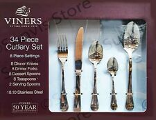Viners 34 Piece 18/10 Stainless Steel Cutlery Set