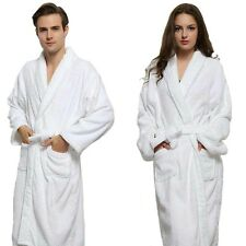 Unisex 100% Cotton Terry Towelling Shawl Collar Bath Robe Dressing Gown SPA Robe