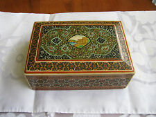 Marquetry Dresser Box, Vintage 1960's  Wood Inlay Hand Decorated Scenic Top