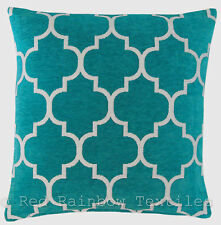 "Teal Blue & Cream 17"" Luxury Chenille Moroccan Design Geometric Cushion Cover"