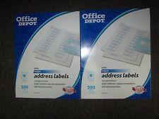 LOT - 2 x Office Depot address labels white inkjet 612231 500 labels 1 in x 4 in
