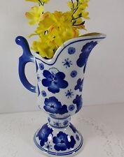 Cobalt Blue on White Porcelain Floral Design Pitcher-Vase