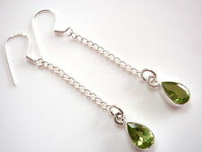 Faceted Peridot Earrings Dangle Chain 925 Sterling Silver Drop New