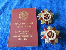 UDSSR, 2 Orden des Vaterländischen Krieges, 1 Kl.+ Urkunde. (HH39)