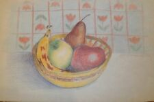 Apples, Pear, Banana Fruit Still Life Crayon Drawing-1993-August Mosca