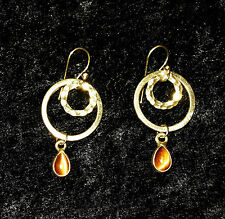 STERLING SILVER W/ GOLD OVERLAY VERMEIL TEARDROP TIGERS EYE DANGLE HOOP EARRING