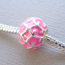 Set of two Pink Spacer Charm Bead large hole Fits European style Bracelet C42