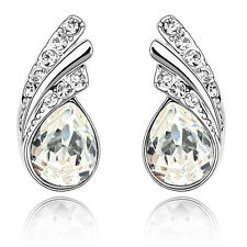 Amazing White Crystal Angel Wings Silver Studs Earrings Rhinestone E367