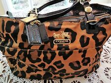 AUTH COACH ~ Nice Madison Ocelot Leopard Print Sateen Tote Shoulder Bag 15554