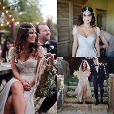 New Cheap Bohemian Beach Wedding Dresses Prom Split Side Chiffon Bridal Gowns