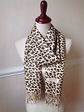 Women's Animal Print Pashmina Scarf Large Rectangle Shawl Fringe Leopard Cheetah