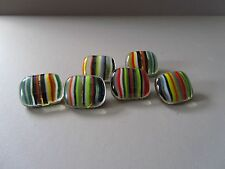 Hand crafted clear and multistripe glass button