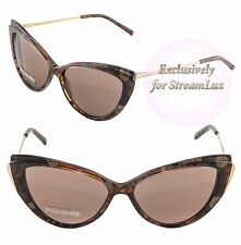 YVES SAINT LAURENT Cat Eye Sunglasses YSL 6346/S 2N2CO Gold Marble Brown