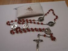 rosary beads Pope John Paul II silver tone cross and joiners cranberry bead