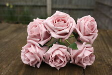6 x VINTAGE DUSKY PINK LUXURY COLOURFAST FOAM ROSES 6cm WEDDING FLOWERS
