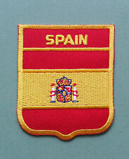 NATIONAL FLAG COUNTRY SHIELD SEW ON / IRON ON EMBROIDERED PATCH:- SPAIN