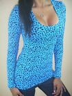 SEXY BLUE BLK LEOPARD WILD ANIMAL SCOOP NECK CLEAVAGE STRETCHY VIXEN TOP SML BL2