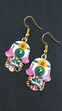 New - Hamsa Hand of Fatima, Evil Eye Protection Earrings, Gold Tone Colourful.