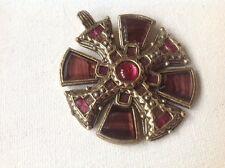 Milagro Vintage Colgante, Scottish Cruz Celta, Púrpura Ágata De Cristal Rosa, Firmado