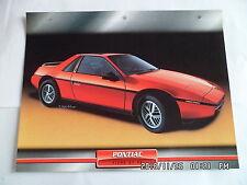 CARTE FICHE VOITURES D'EXCEPTION PONTIAC FIERO GT V6