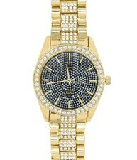 Techno Pave Mens Hip Hop Iced Out Lab Diamonds Gold Plated Metal Band Watch