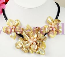 """stunning big handmade baroque shell pearl flower leather pendant necklace 18"""""""