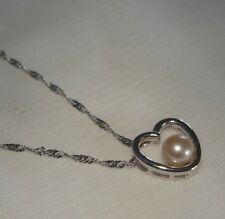 "14K White Gold Cultured Peach FW Pearl Heart 18"" Necklace/Pendant NEW 2.5 grams"