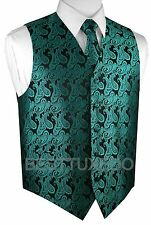 XS - 6XL. Italian Design. Paisley Tuxedo Vest, Tie and Hankie Set.