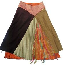 Karen Miknos Irish Designer Quirky Boho Textured Patchwork A Line Skirt 14-16