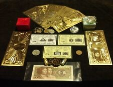 HUGE22Pc.LOT~COINS/FOSSIL/7GOLD.BANKNOTES/U.S&WORLD/3SILVER-BARS/CHARM+NECKLACES