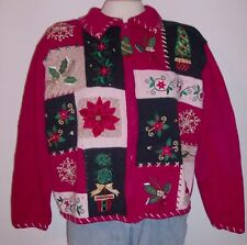 Heirloom Collectibles Full Zip Ugly Christmas Sweater Patchwork Design - Size XL