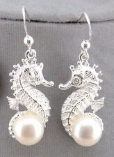925 Sterling Silver Seahorse Earrings Freshwater Pearl Jewelry NEW