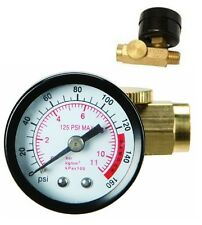 Inline Air Pressure Regulator with Gauge Solid Brass Construction 160 PSI