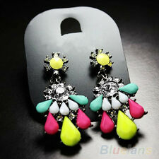 Women Retro Colorful Resin Rhinestone Flower Dangle Drop Statement Earring
