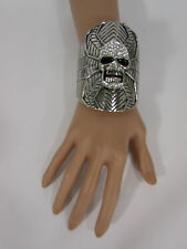 New Women Silver Metal Skull Cuff Bracelet Fashion Rhinestones Spider Net Mask