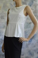 NWOT J CREW Top Sz 2 Ivory Brocade Top Blouse w/ Peplum Cotton Poly Spandex