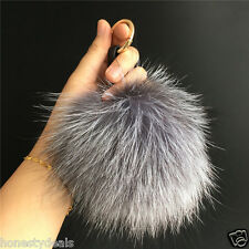 15cm/6″ Real Silver Fox Fur Pom Pom Ball Bag Charm car Keychain tag Key Finder