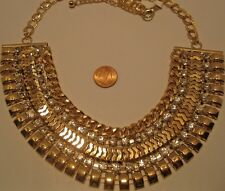 Necklace Egyptian Style Round Rhinestone Cluster Collar Chain Statement NWT L704